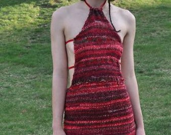 Hand knit Red Dress with Gold Cape