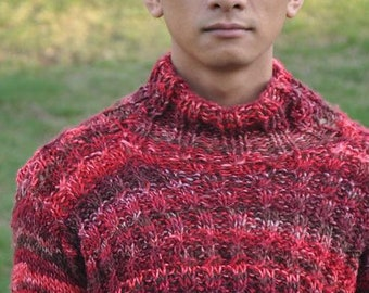 Multi Color Red Turtleneck Sweater