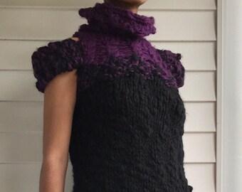 Black And Purple Handknit Chunky Dress