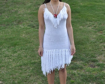 Handknit White Fringe Dress
