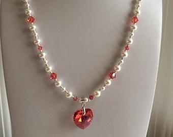 SWAROVSKI Crystal Heart Necklace - crystal bermuda blue