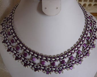 Trendy woven with white and purple beads NECKLACE