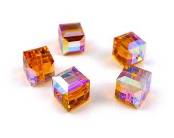 5 x Swarovski® 6 mm TOPAZ AB CrystalcCubes