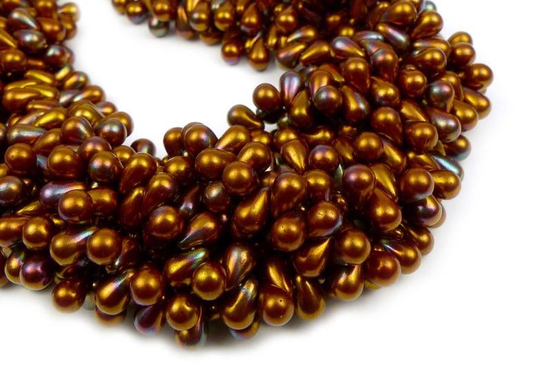 50 x tiny teardrops 6x4mm Czech Glass Beads Bronze