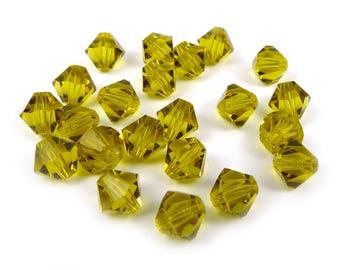 20 x Crystal bicone Swarovski® 6 mm LIME