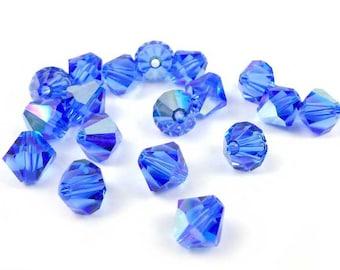 20 x Swarovski® 6 mm SAPPHIRE AB Crystal bicones