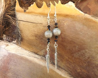 Feather, Pearl gray, Silver earrings