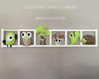 d coration chambre bebe cadre mural animaux feutrine vert etsy. Black Bedroom Furniture Sets. Home Design Ideas