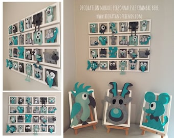 Kinder kamer decoratie geboorte geschenk door bichatandfriendsshop