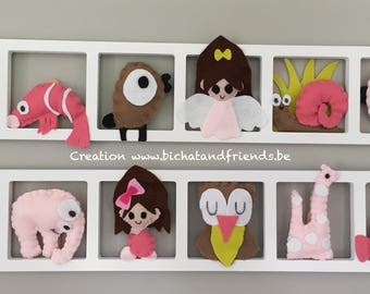Wall decoration bedroom girl, pink beige taupe, birthday gift