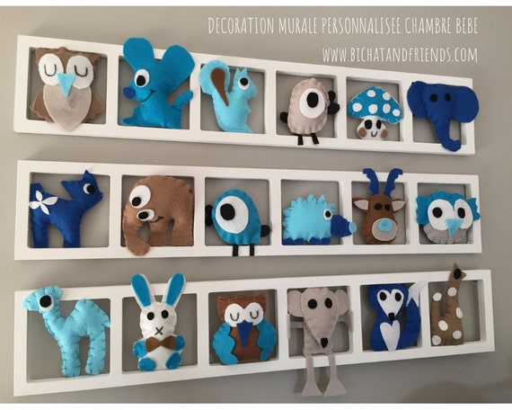 Deco trend kids, personalized, room wall frame, figurines in felt -  turquoise gray beige taupe