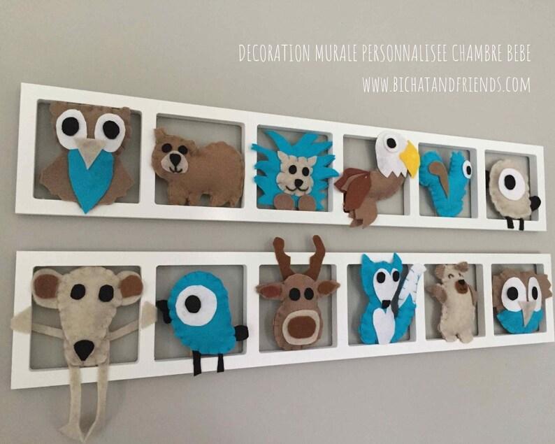 Baby-Schlafzimmer Deco-Wand Frame-Tiere Wild West Töne türkis taupe
