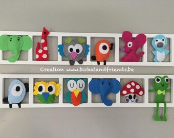 Trendy, personalized wall frame, owls, colorful animals deco, birth gift, room decoration
