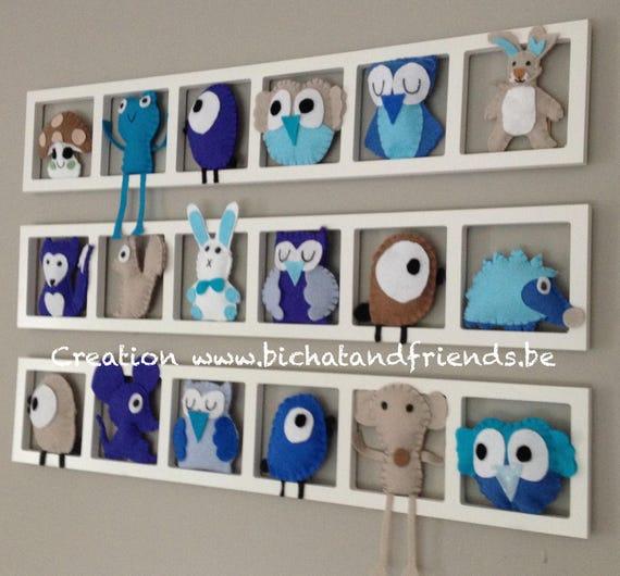Deco murale bleu taupe, chambre de bébé, figurines feutrine, cadeau ...
