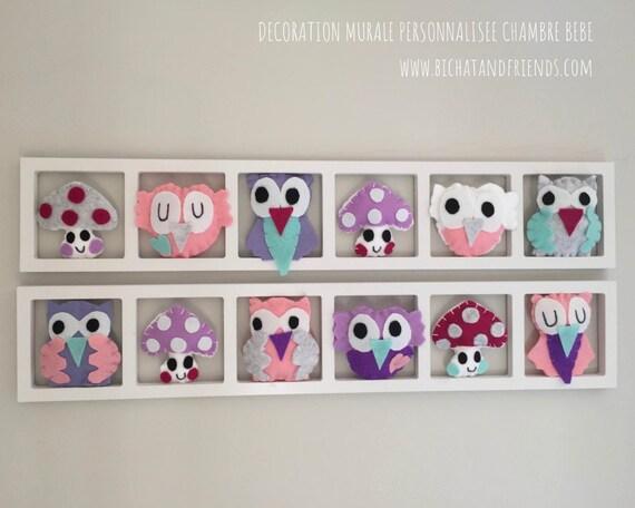 décoration chambre fille, cadre mural figurines rose gris, cadeau de  naissance original.