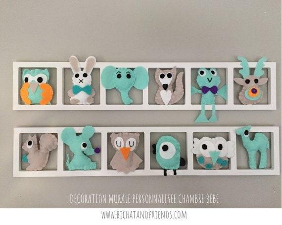 Tendance décoration murale chambre enfant bebe animaux vert | Etsy