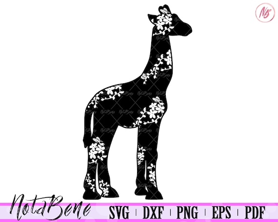 Decorative Giraffe Svg Floral Giraffe Cute Flowers Giraffe Etsy