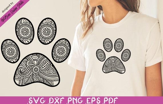 Dog Paw Mandala Svg Zentangle Cat Paw Svg Pet Lover Art Svg Etsy