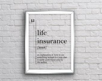 GLASS ART Life Insurance Definition Agent Gift Office Decor Art Wall Scandinavian