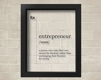 TRANSPARENT Entrepreneur Definition Gift Funny Poster Office Decor Dictionary Art Wall New Job