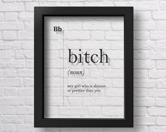 Charming TRANSPARENT Bitch Definition Gift For Her Teen Room Decor Dorm Decor Girl  Room Decor Dorm Wall Art Girlfriend Gift Scandinavian Typography