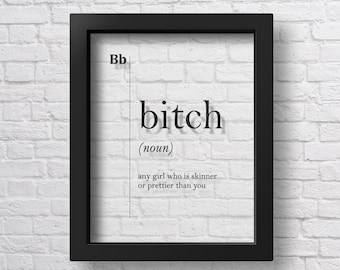 TRANSPARENT Bitch Definition Gift For Her Teen Room Decor Dorm Decor Girl  Room Decor Dorm Wall Art Girlfriend Gift Scandinavian Typography