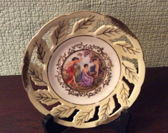 Vintage Royal Halsey Saucer Dish Very Fine China -  Hand Painted