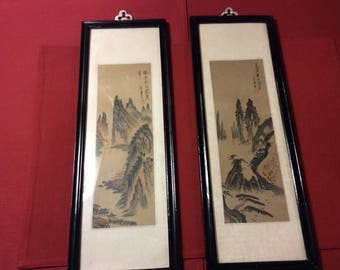 Pair of Old Asian Framed Watercolors - Silk Mats with Wood Frames