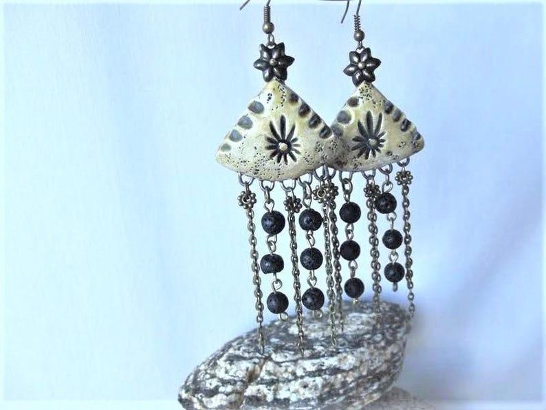 natural lava France handmade Designer earrings ceramic passionnementseize ethnic boho unique beads bronze chain