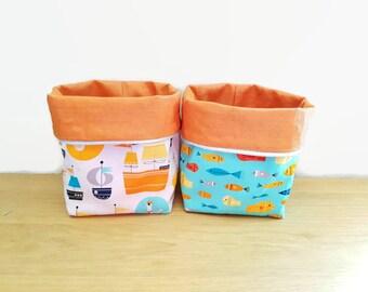 Pair of baskets, storage baskets, baskets reversible cotton print designer marine theme
