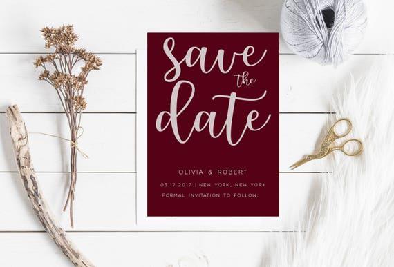 modern minimalist burgundy digital save the date 5 x 7 etsy