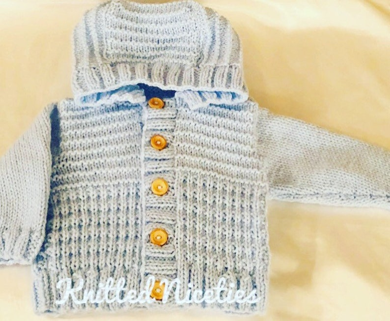 Hand Knitted Baby Clothing Aran Hooded Cardigan