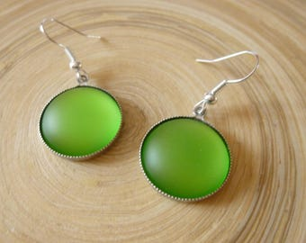 """Earrings large cabochons """"Luna"""" soft lime green - silver hook"""