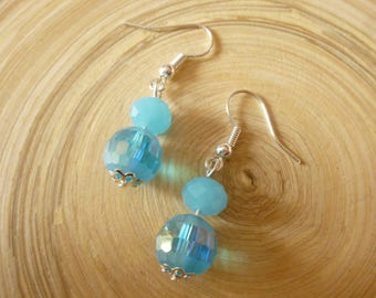 Blue faceted glass beads earrings