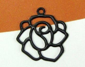 Set of 4 Fine black filigree flower charms - 14 mm