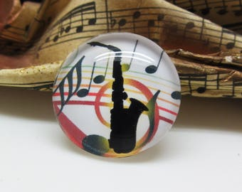 1 cabochon 25 mm glass Musical Instrument Saxophone black-multicolored - 25 mm