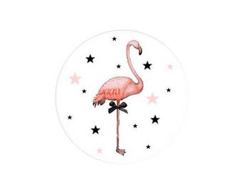 2 cabochons 14 mm glass Flamingo Pink 2-14 mm