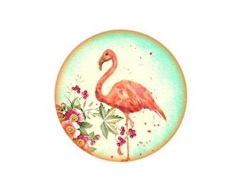 2 cabochons 12 mm glass Flamingo Pink 6-12 mm