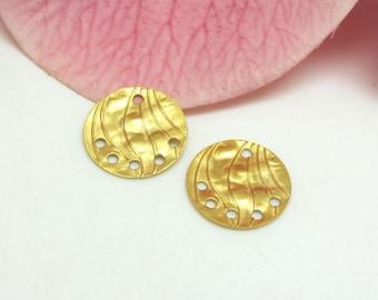 2 connectors Sequins in gold metal holes Premium quality 6 - 15 mm