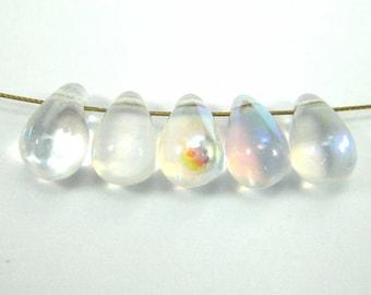 10 drops Czech glass crystal AB - 9 * 6 mm