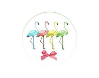 2 cabochons 16 mm glass Flamingo Pink 4-16 mm