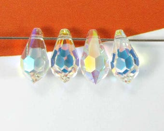 Set of 4 Swarovski Crystal AB Crystal drops - 11 * 5.5 mm