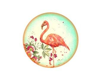 2 cabochons 14 mm glass Flamingo Pink 6-14 mm