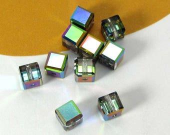Set of 5 Swarovski Vitrail Medium Crystal Cubes - 4 mm