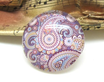 2 Paisley purple clear glass 12 mm - 12 mm cabochons