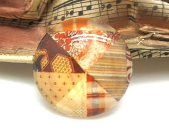 2 cabochons 12 mm glass spirit quilt 1-12 mm