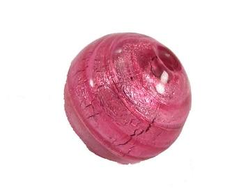 1 round pink Lampwork bead - 10 mm