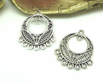 Lot 2 connectors silver old Creole 7 rings - 27 mm
