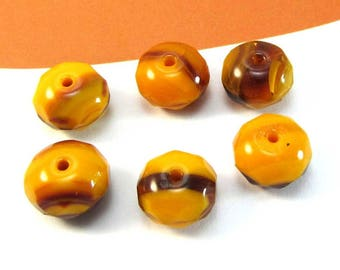 6 pearls of Bohemia, Donut yellow Orange and Brown, 9 * 6 mm