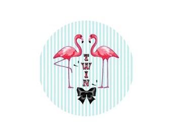 2 cabochons 20 mm glass Flamingo Pink 3-20 mm